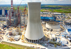 Construction site of the new modern power station aerial view Royalty Free Stock Photos