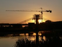 Construction site of new river bridge Royalty Free Stock Image