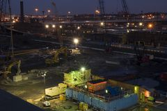 Construction site at night. With Christmas decoration royalty free stock photos