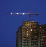 Construction site at night. Stock Photos