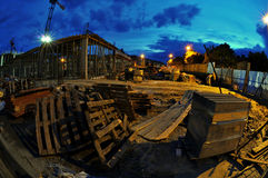 Construction site at night Stock Image
