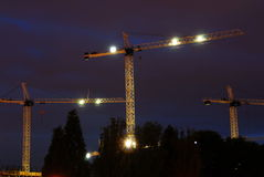 Construction site at night Stock Images