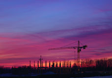 Construction Site Night Scene Royalty Free Stock Images