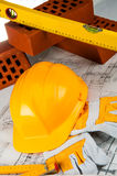 Construction site objects, professional building stuff Stock Photo