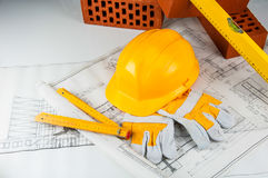 Construction site objects, professional building stuff Stock Photography
