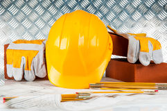 Construction site objects, professional building stuff Stock Images