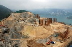 Construction site. Of ocean park, Hong Kong. For extension of the park Royalty Free Stock Photo