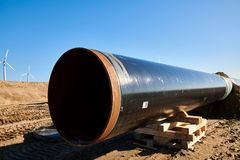 Free Construction Site Of The European Natural Gas Pipeline EUGAL Near Wrangelsburg (Germany) On 16.02.2019, This Pipeline Begins In Stock Photography - 139699682