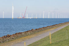 Construction site of offshore wind farm near the Dutch coast Royalty Free Stock Images