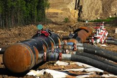 Construction site of oil pipeline stock photo