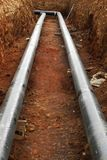 Construction site of oil pipeline royalty free stock image