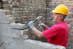 Construction site, old building demolishing Royalty Free Stock Photo