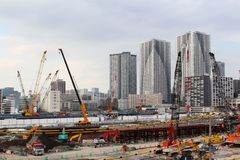The construction site of the Olympic Village for the 2020 Tokyo Olympics Stock Images