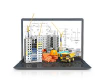 Free Construction Site On The Screen Of A Portable Computer, Skyscraper Building, Building Materials Royalty Free Stock Photography - 143121837