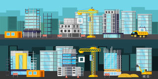 Construction Site Orthogonal Banners Stock Photos