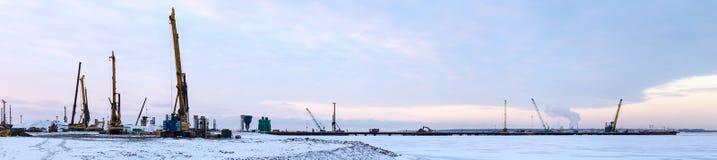 Construction site panorama Stock Photos