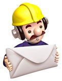 Construction site personnel holding a large letter Royalty Free Stock Images