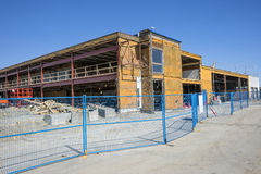 Construction site. Picture of car dealer building under renovation stock photos
