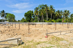 Construction site. Piles in construction royalty free stock images