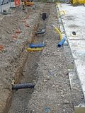 Construction site pipes drainage Stock Images