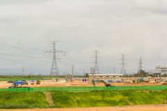 Construction site with power cable Stock Photo