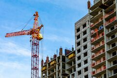 Free Construction Site. Process Of Construction Of New Modern Cement Concrete Stone Pannel Monolithic Frame-block Building Of House Royalty Free Stock Photography - 203472527