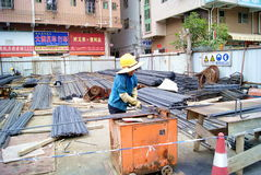 Construction site: processing of strip shape steel Royalty Free Stock Photo