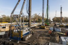 Construction Site Railway Station Driebergen. Driebergen, Netherlands - November 26, 2017: Construction site at the railway station in Driebergen, province Royalty Free Stock Photos