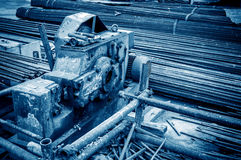 Construction site rebar cutter Royalty Free Stock Photo