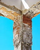 Construction site - Reinforced concrete pillar to strengthening Royalty Free Stock Photos