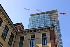 Milan. Italy, March 21 2019. Renovation of the facade of a build stock photos