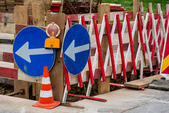 Construction site on a road Royalty Free Stock Photos