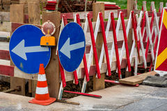 Construction site on a road Royalty Free Stock Photo