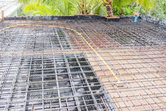 Construction site: Roof slab with reinforcement bar. On formworks ready to pour concrete Stock Image