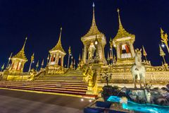 Construction site of the Royal funeral pyre at night in Bangkok, Thailand. Sky Thai art historic site landmark king rama 9 stock image