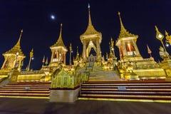 Construction site of the Royal funeral pyre at night in Bangkok, Thailand. Sky Thai art historic site landmark king rama 9 royalty free stock image