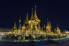 Construction site of the Royal funeral pyre at night in Bangkok, Thailand. Sky Thai art historic site landmark king rama 9 stock images