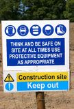 Construction Site Rules. Construction site safety regulation sign with symbols and warnings Stock Photography