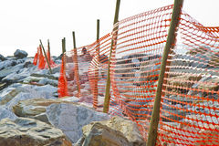Construction site with safety orange grid Royalty Free Stock Photo