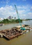 Construction site on Saigon river Stock Photos