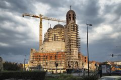 Construction site of Saint Joseph Greek Catholic cathedral on August 21, 2018 in  Cluj-Napoca.