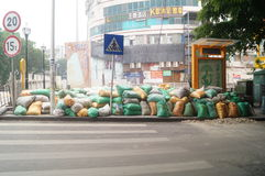 The construction site of the sandbags piled up Royalty Free Stock Photo