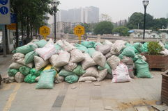 The construction site of the sandbags piled up Royalty Free Stock Photos