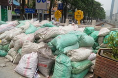 The construction site of the sandbags piled up Stock Image