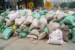 The construction site of the sandbags piled up Royalty Free Stock Images