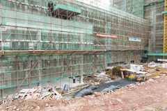 Construction site with scaffold, building site, construction field Stock Photos