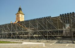 Construction site scaffolding for concert golden stag festival tribune in Brasov royalty free stock images