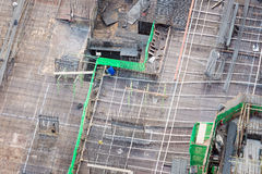 Construction site with scaffolding and steel structure from top view Stock Images