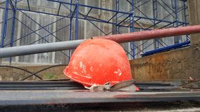 The construction site. The construction site scene demonstrates the scaffolding pipes safety helmet for the engineering architecture realestate project stock photos