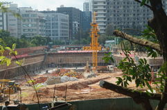 The construction site at the Shenzhen University, China. The construction site at the Shenzhen University, a new teaching building is being built. In China Royalty Free Stock Photography